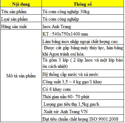 Thông số kỹ thuật tủ cơm công nghiệp 30kg bằng gas
