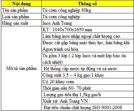 Thông số kỹ thuật tủ cơm công nghiệp 80kg