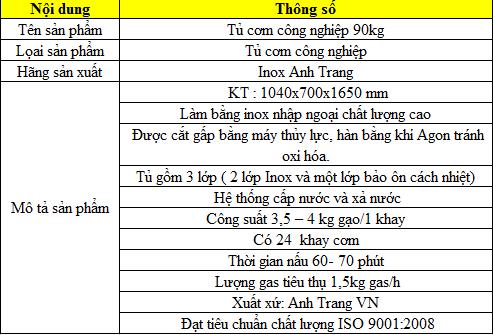 Thông số kỹ thuật tủ nấu cơm bằng gas 90kg