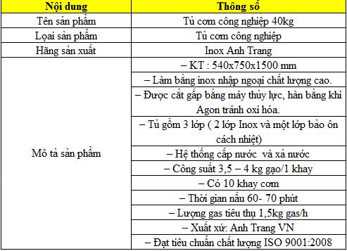 Thông số kỹ thuật tủ nấu cơm bằng gas 40kg