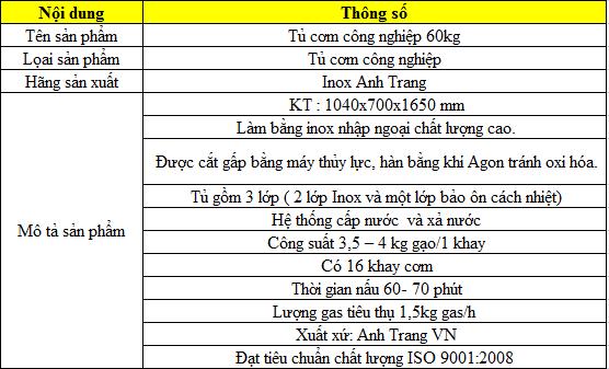 Thông số kỹ thuật tủ cơm gas công nghiệp 60kg