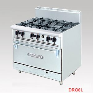bếp âu 6 họng có lò nướng, thiết bị bếp âu